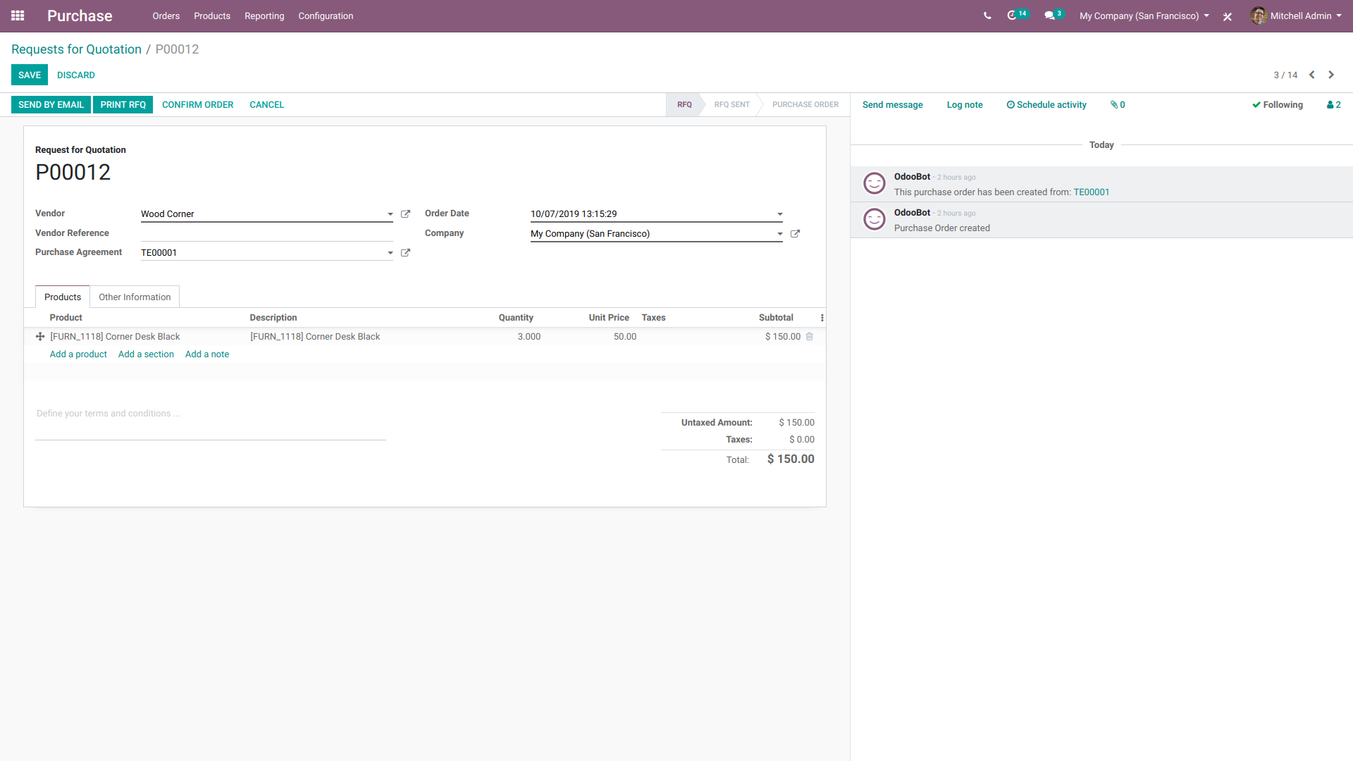 Odoo Purchase Detail